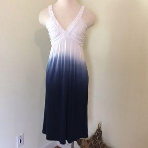Braided Strap V Neck Ombré Dress